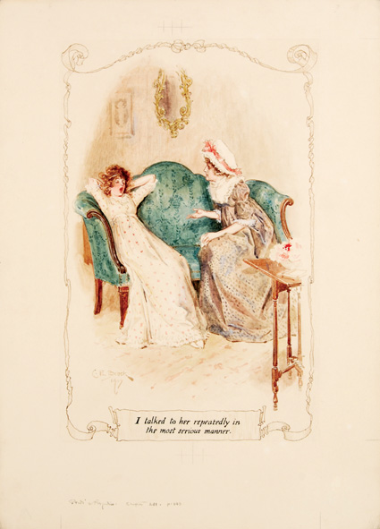Aquarela original de C. E. Brock, pra Pride and Prejudice